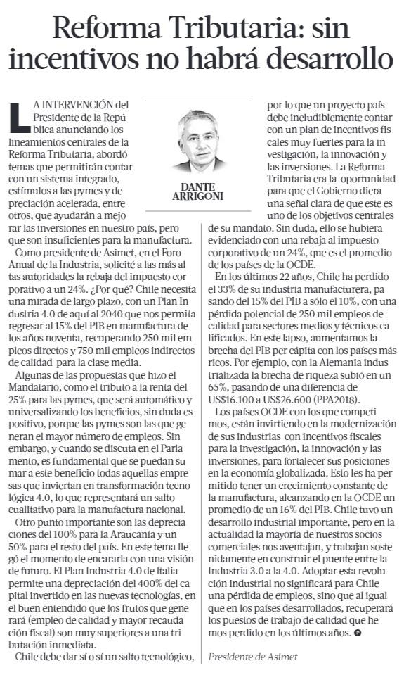 Reforma tributaria: Sin incentivos no habrá desarrollo, por Dante Arrigoni